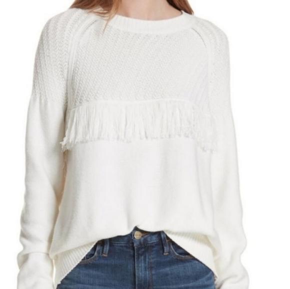 *NWT!* FRAME white fringe wool blend sweater